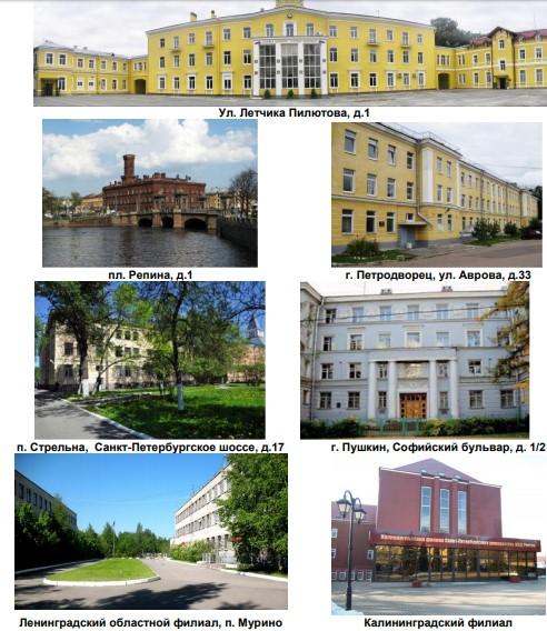 Корпуса и филиалы Санкт-Петербургского университета МВД России
